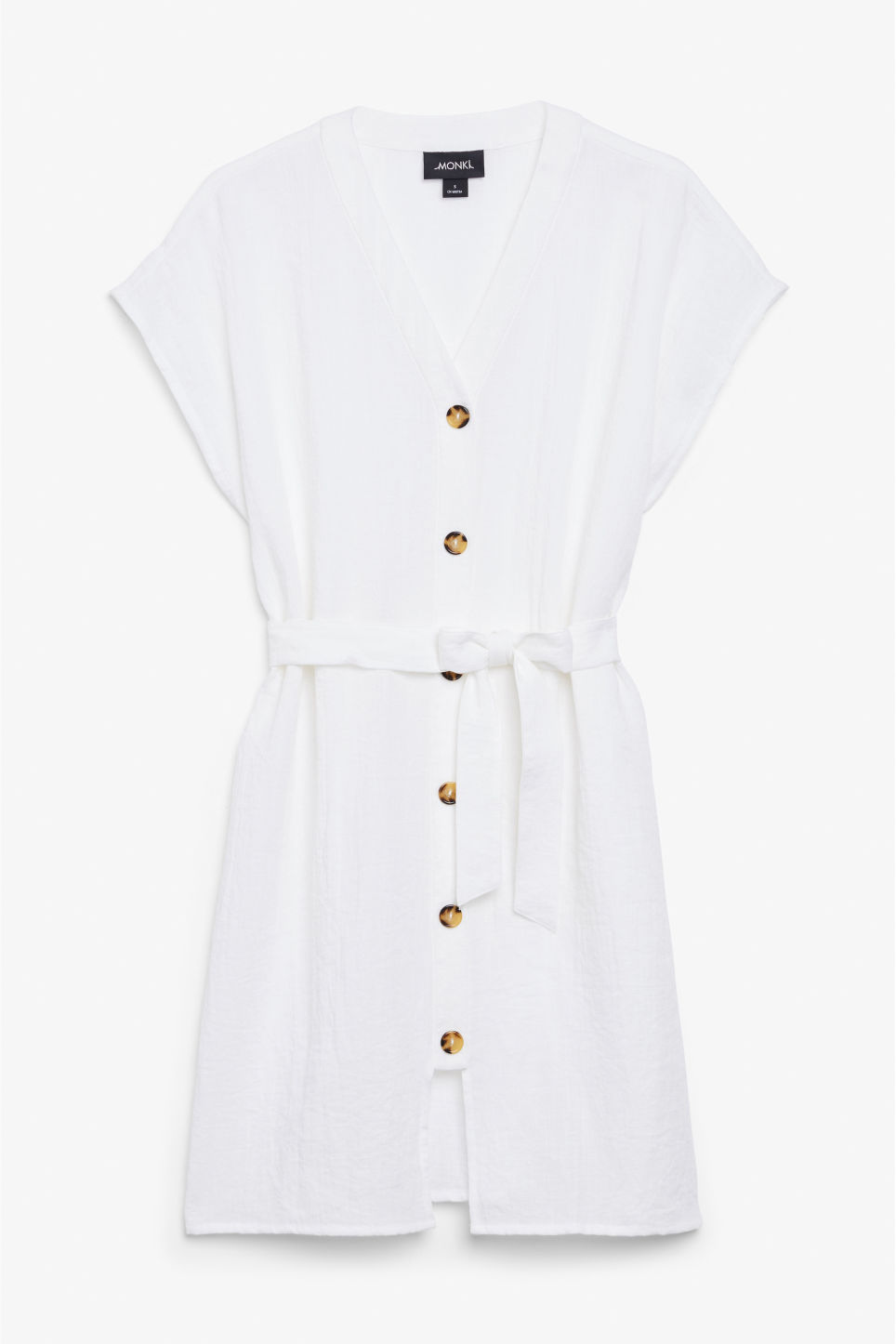 Front image of Monki oversized safari dress in white