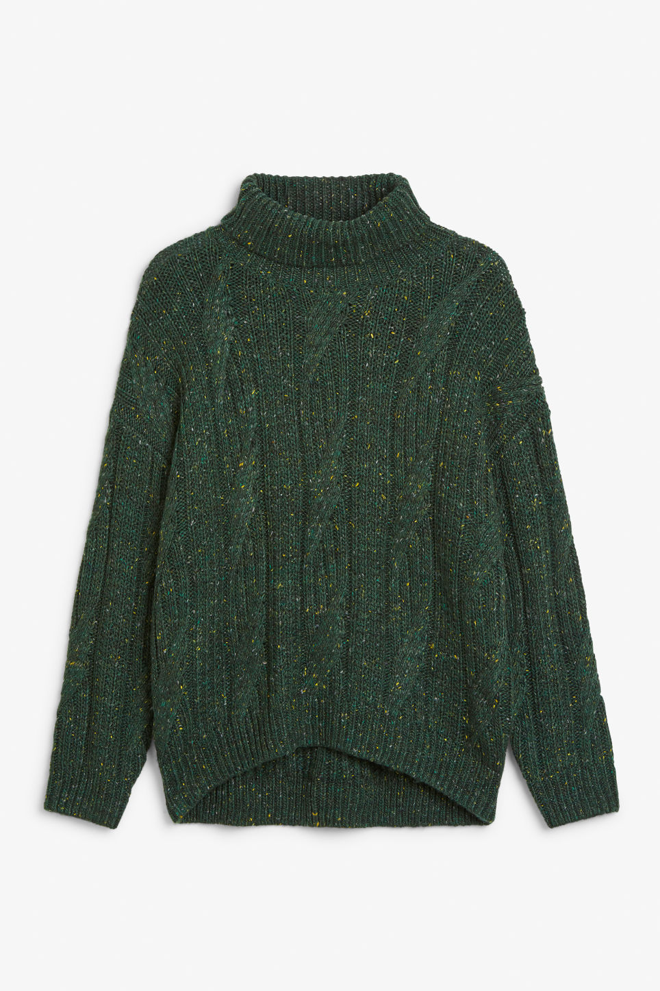 Front image of Monki sweater turtleneck  in green
