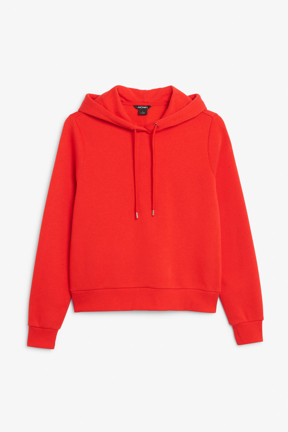 Front image of Monki classic hoodie in red