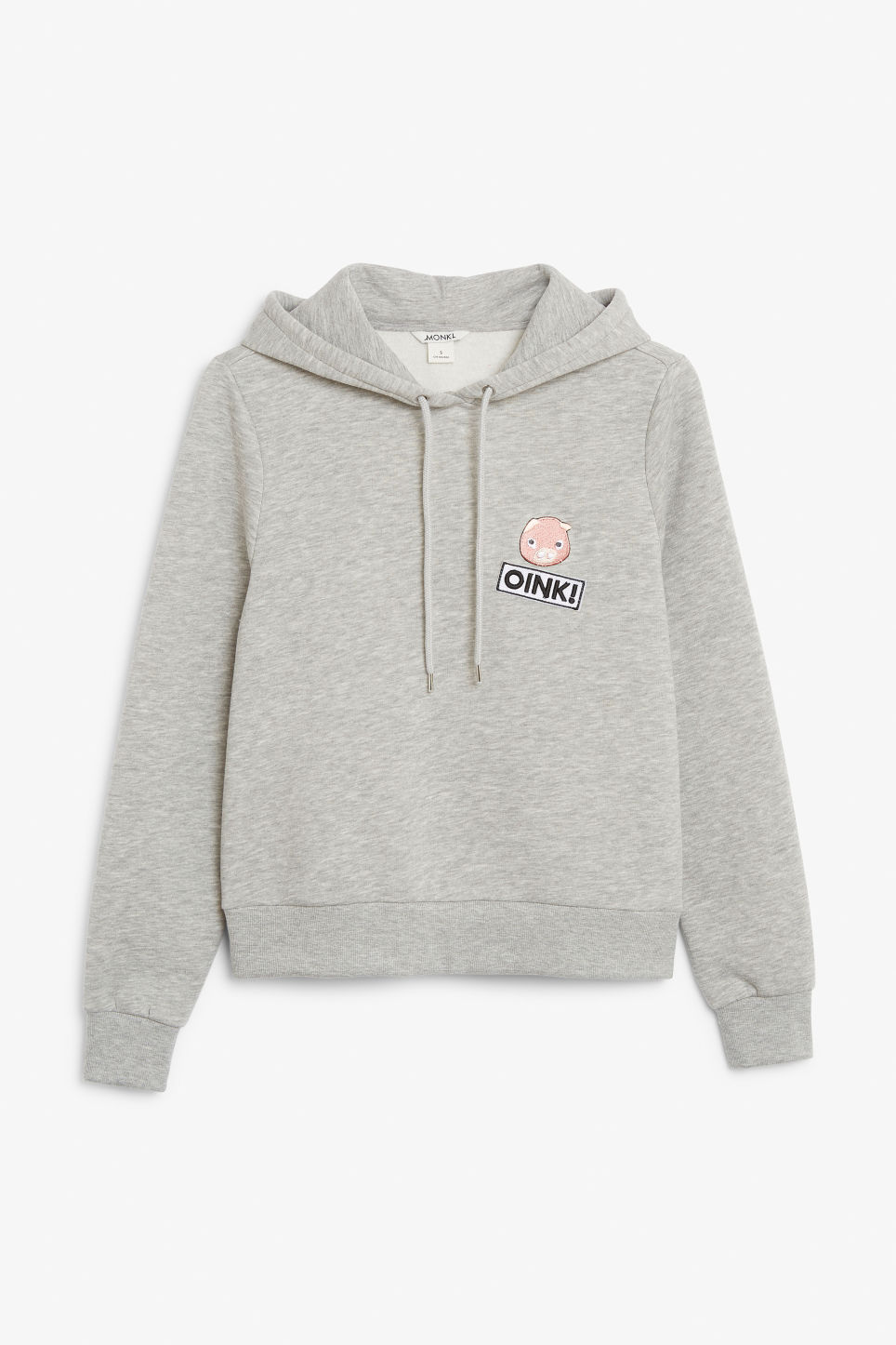 Front image of Monki classic hoodie in grey