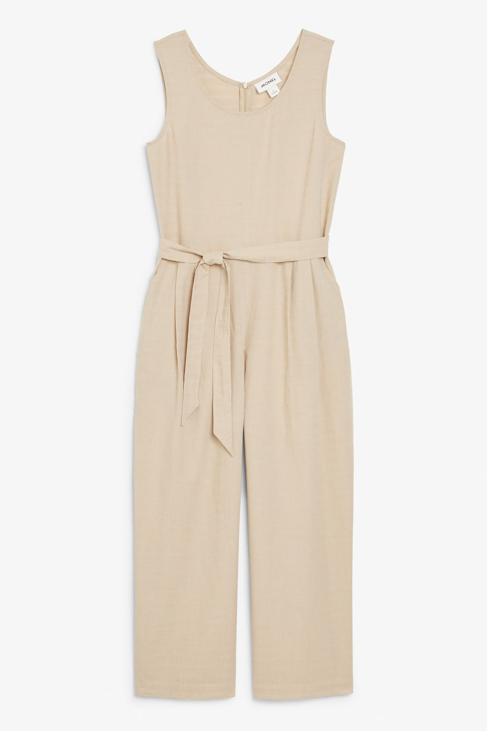Front image of Monki flowy belted jumpsuit in beige