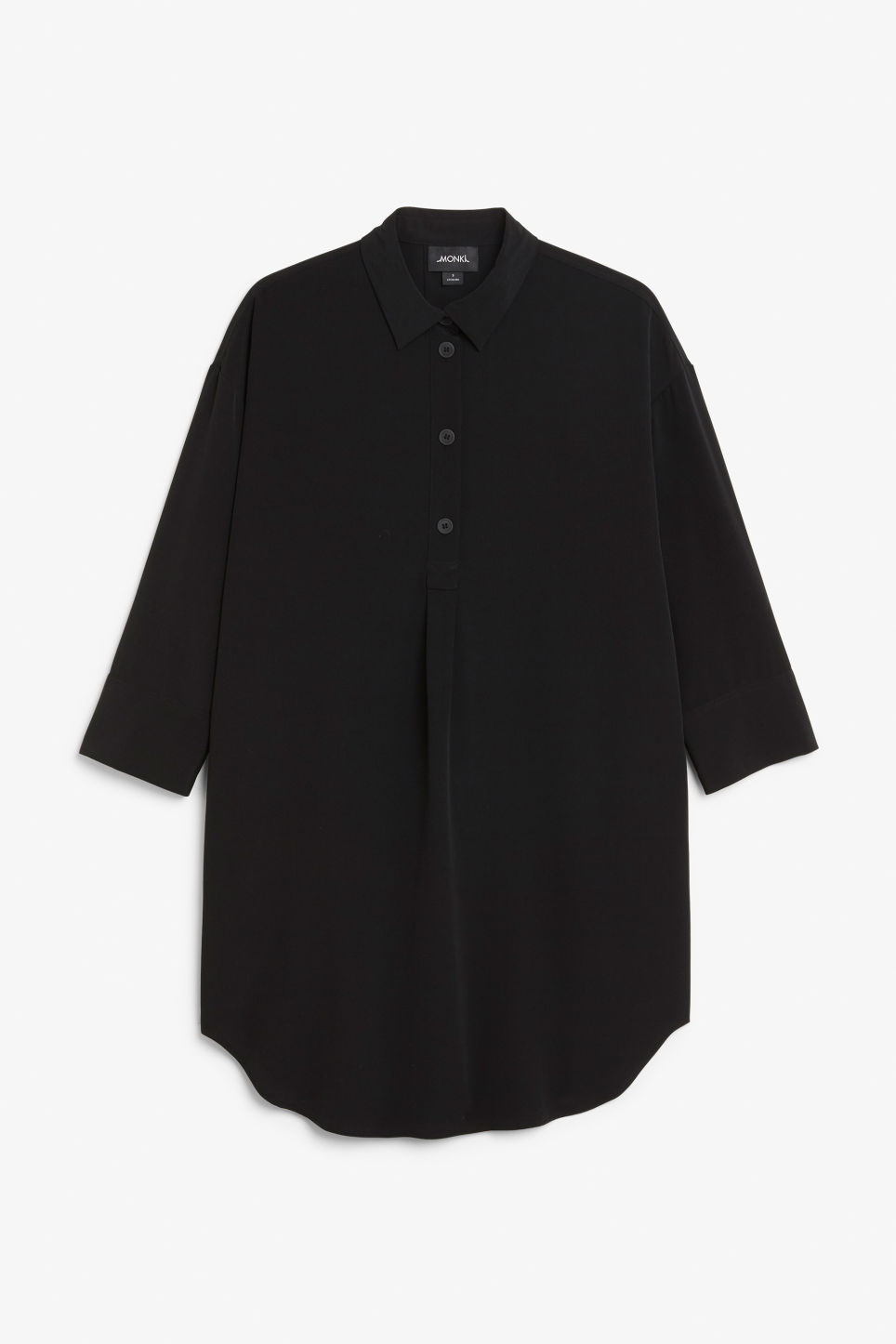 Front image of Monki classic wide shirt dress  in black