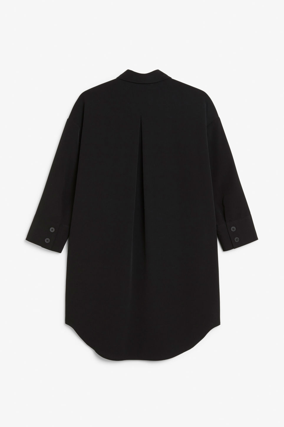 Back image of Monki classic wide shirt dress  in black