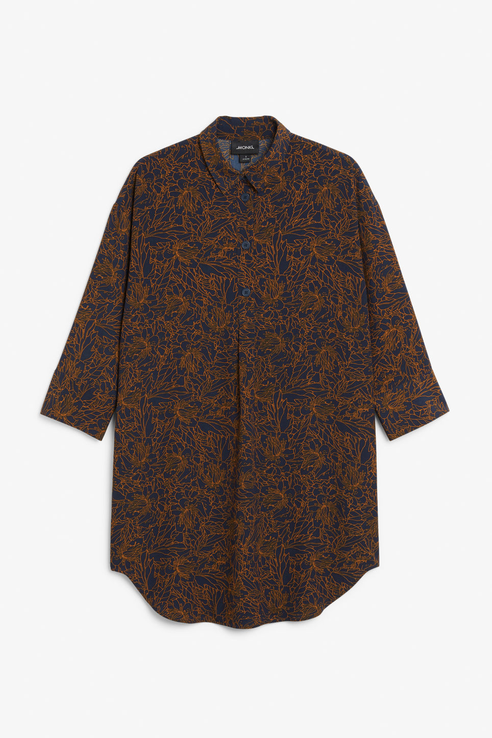 Front image of Monki classic wide shirt dress  in blue