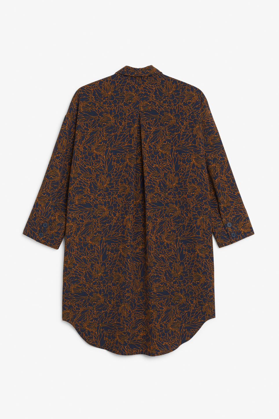Back image of Monki classic wide shirt dress  in blue