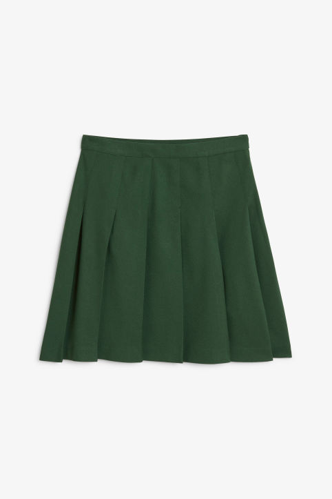 Front image of Monki tennis skirt in green
