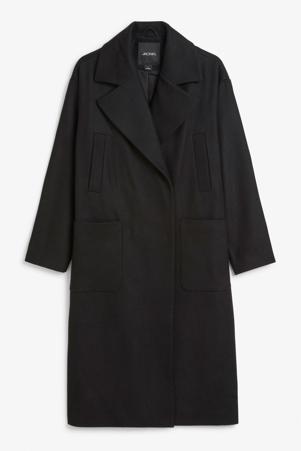 Front image of Monki double-breasted wool coat in black