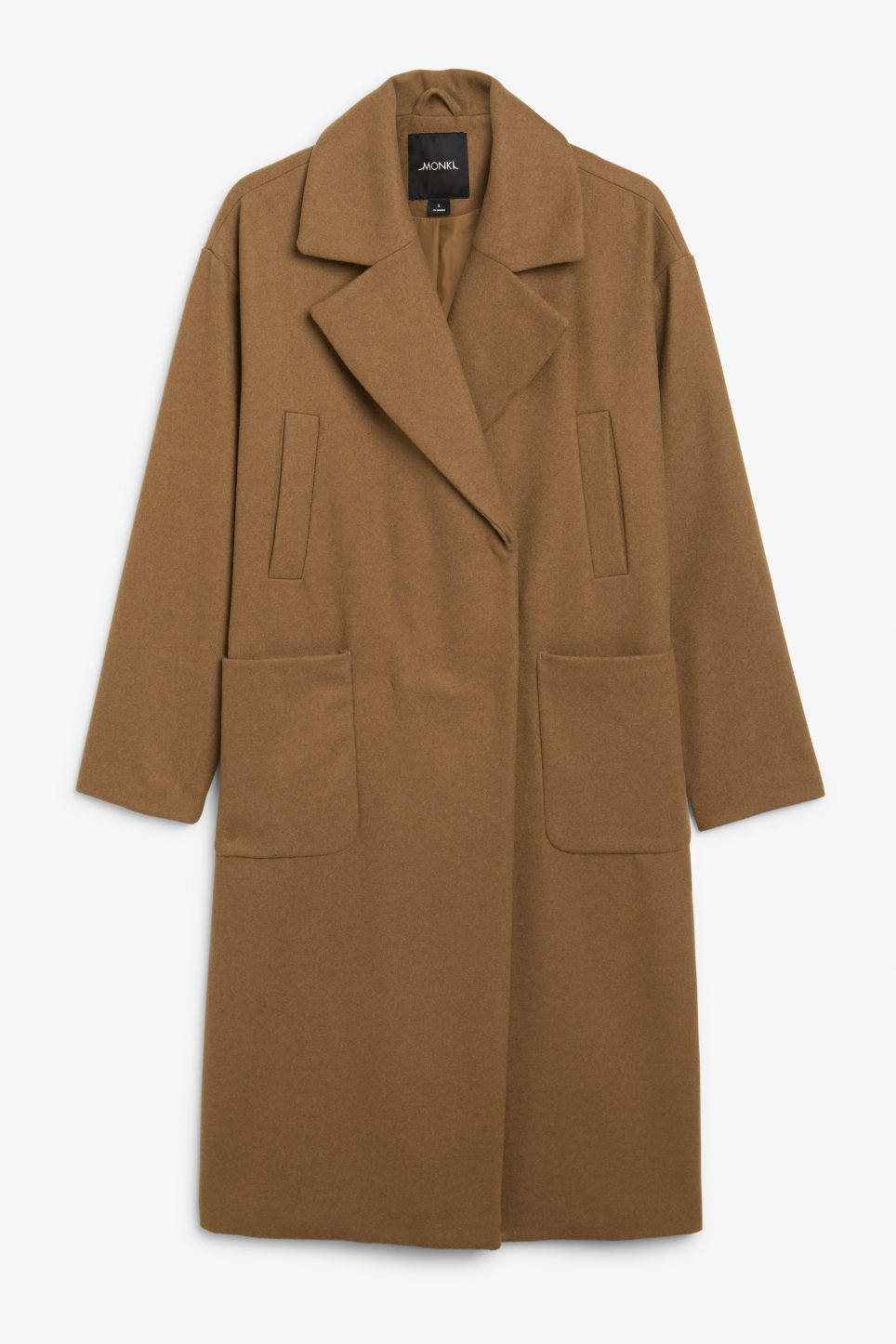 Front image of Monki double-breasted wool coat in beige