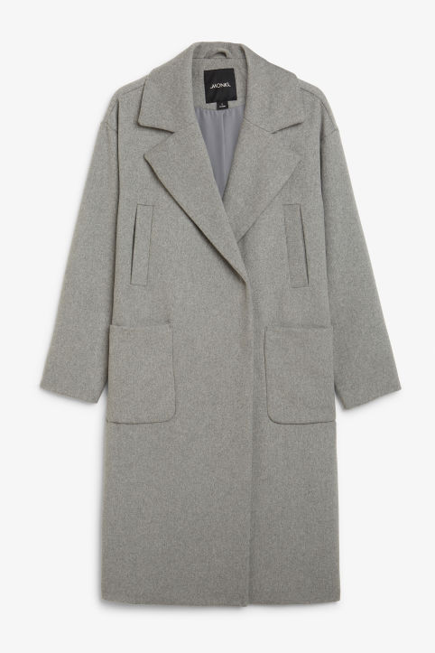 Front image of Monki double-breasted wool coat in grey