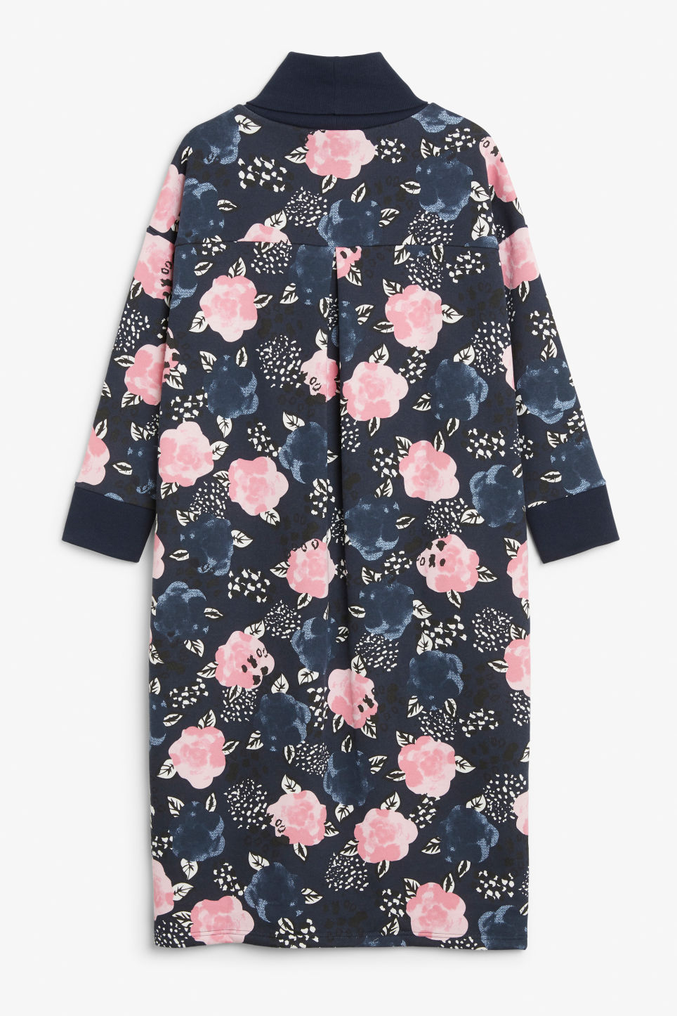 Back image of Monki long turtleneck dress in blue