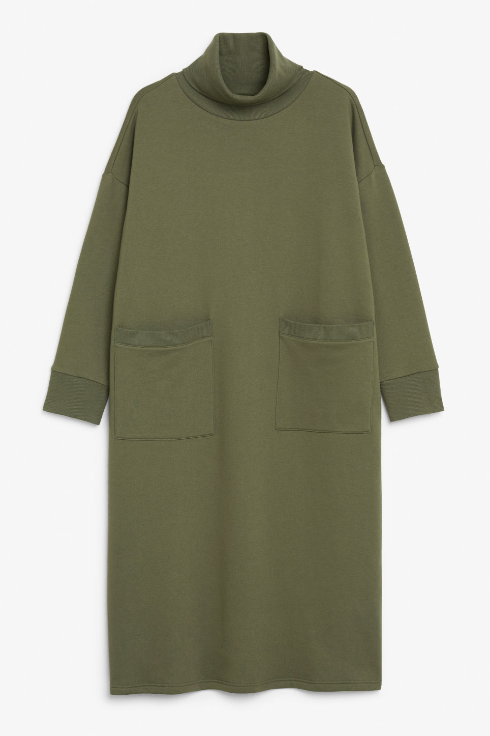 Front image of Monki turtleneck dress in green