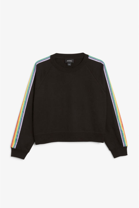 Front image of Monki rainbow stripe sweatshirt  in black