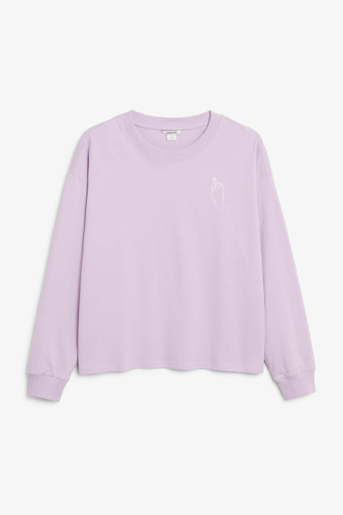 Front image of Monki long-sleeved retro t-shirt in purple