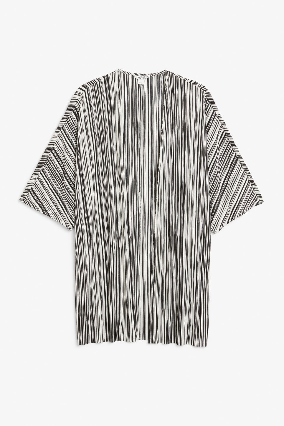 Front image of Monki pleated kaftan in black