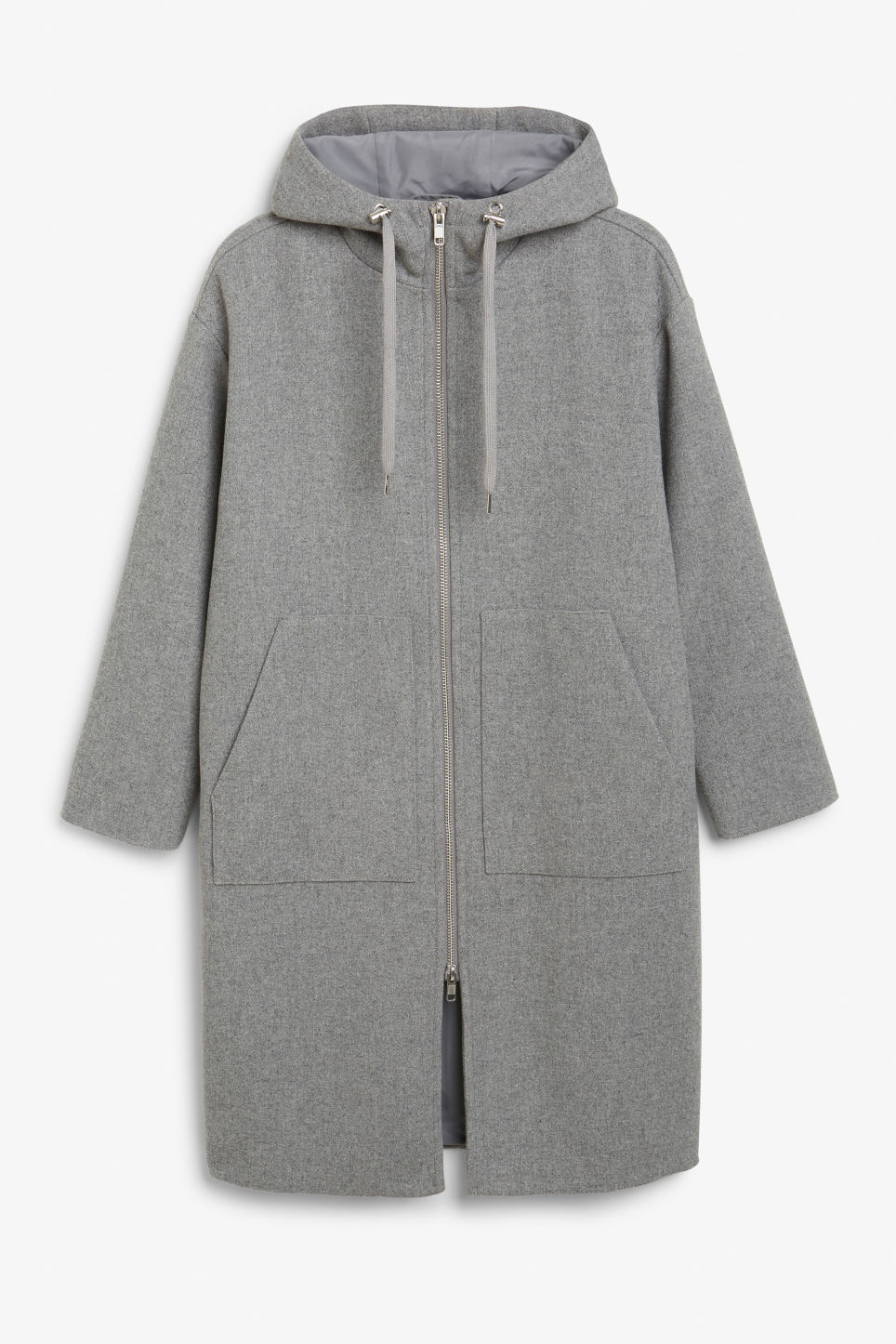 Front image of Monki long hood jacket in grey