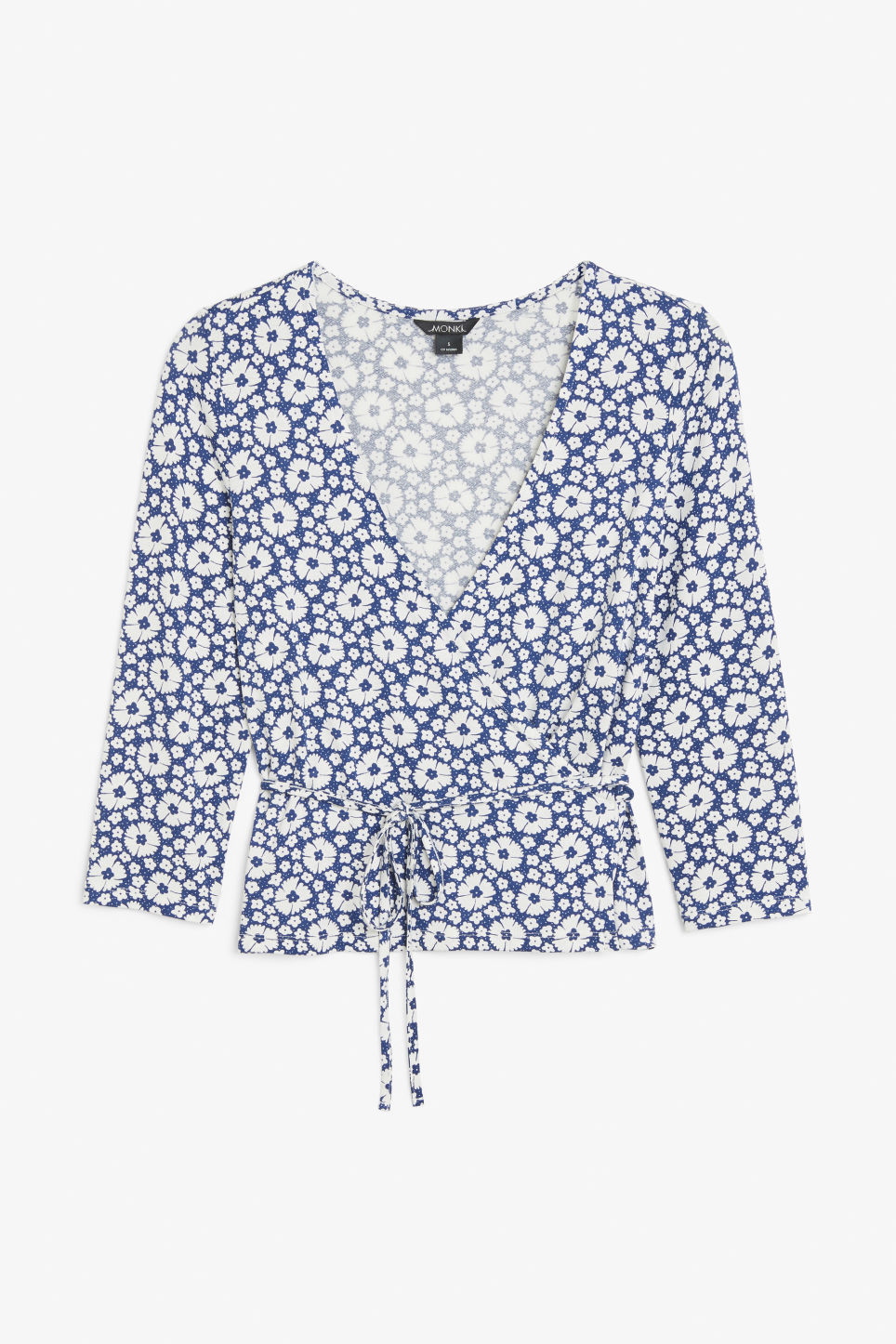 Front image of Monki soft wrap top in blue