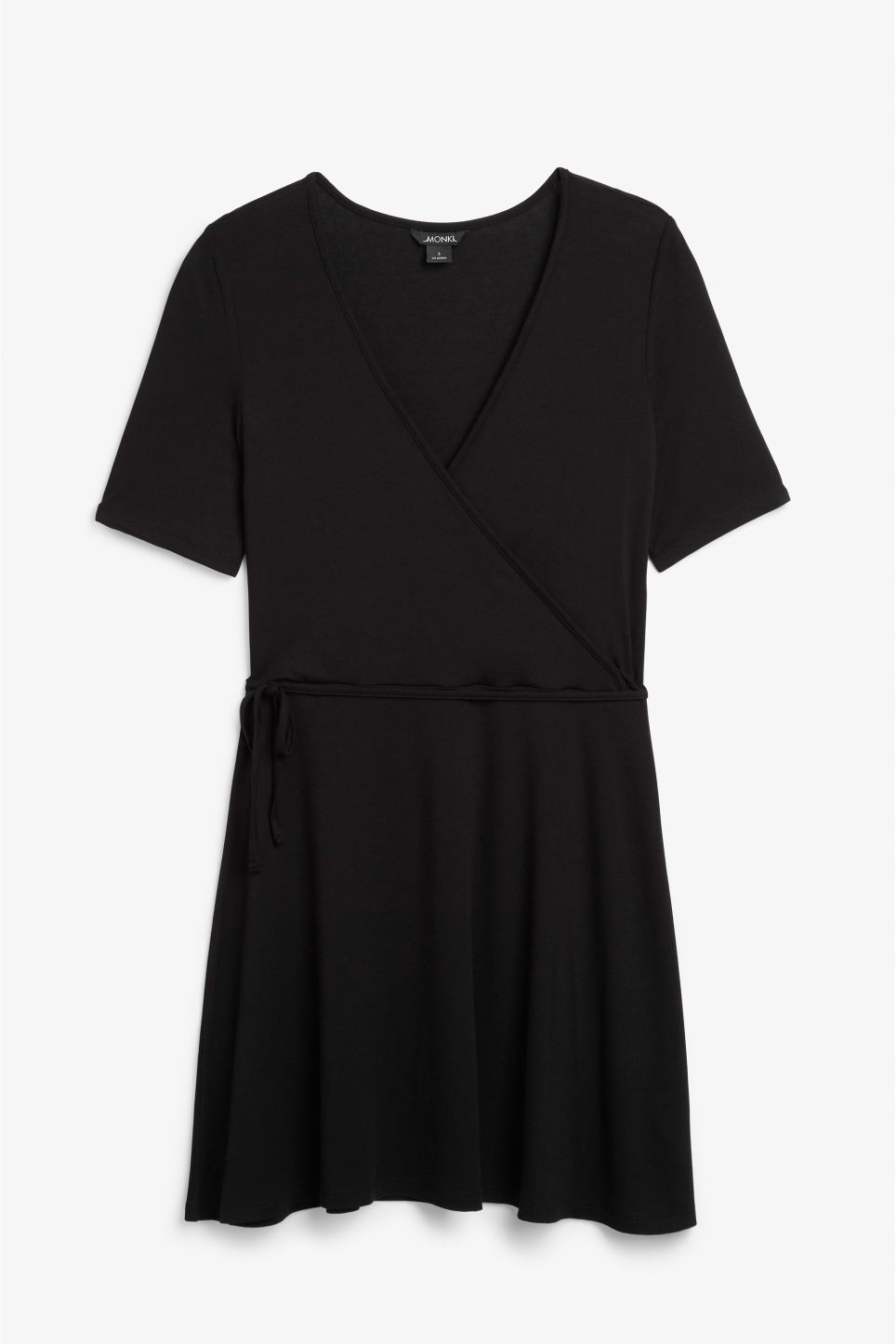 Front image of Monki v-neck wrap dress in black