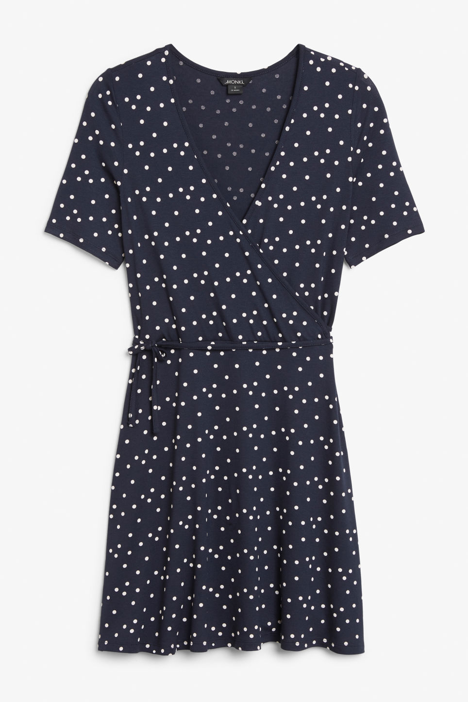 Front image of Monki v-neck wrap dress in blue