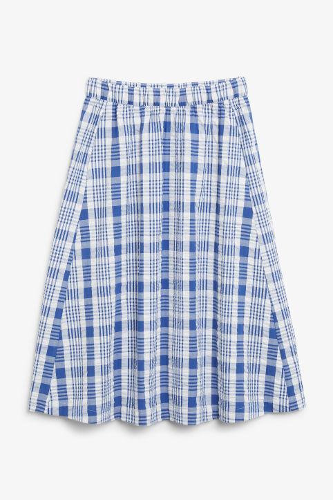 d37d50c534 Flowy midi skirt - White and blue checks - Skirts - Monki