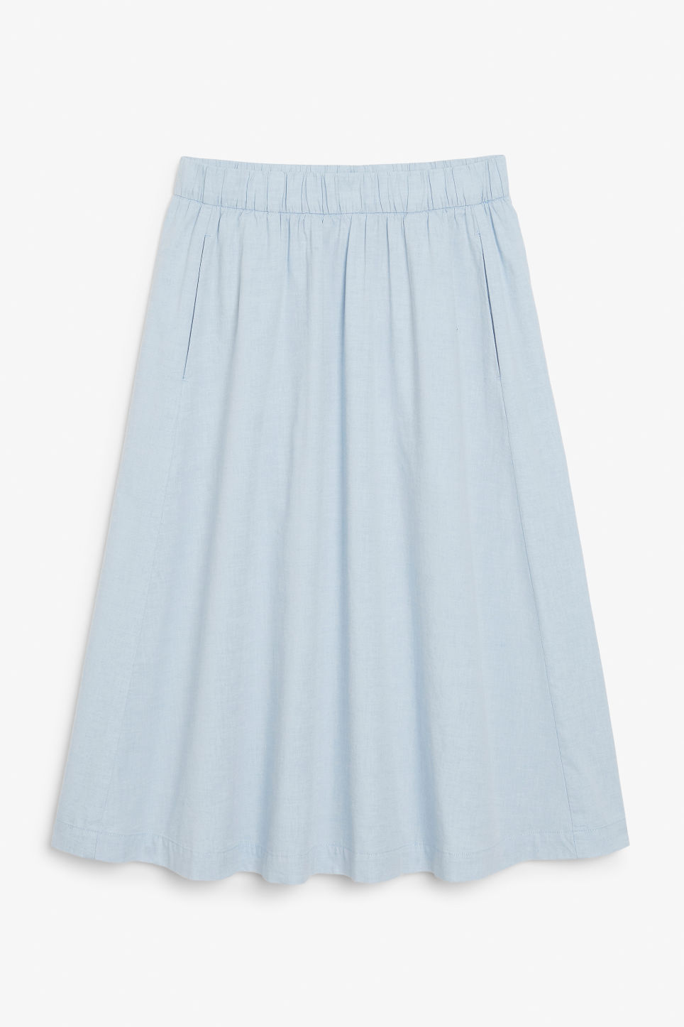 Front image of Monki flowy midi skirt in blue