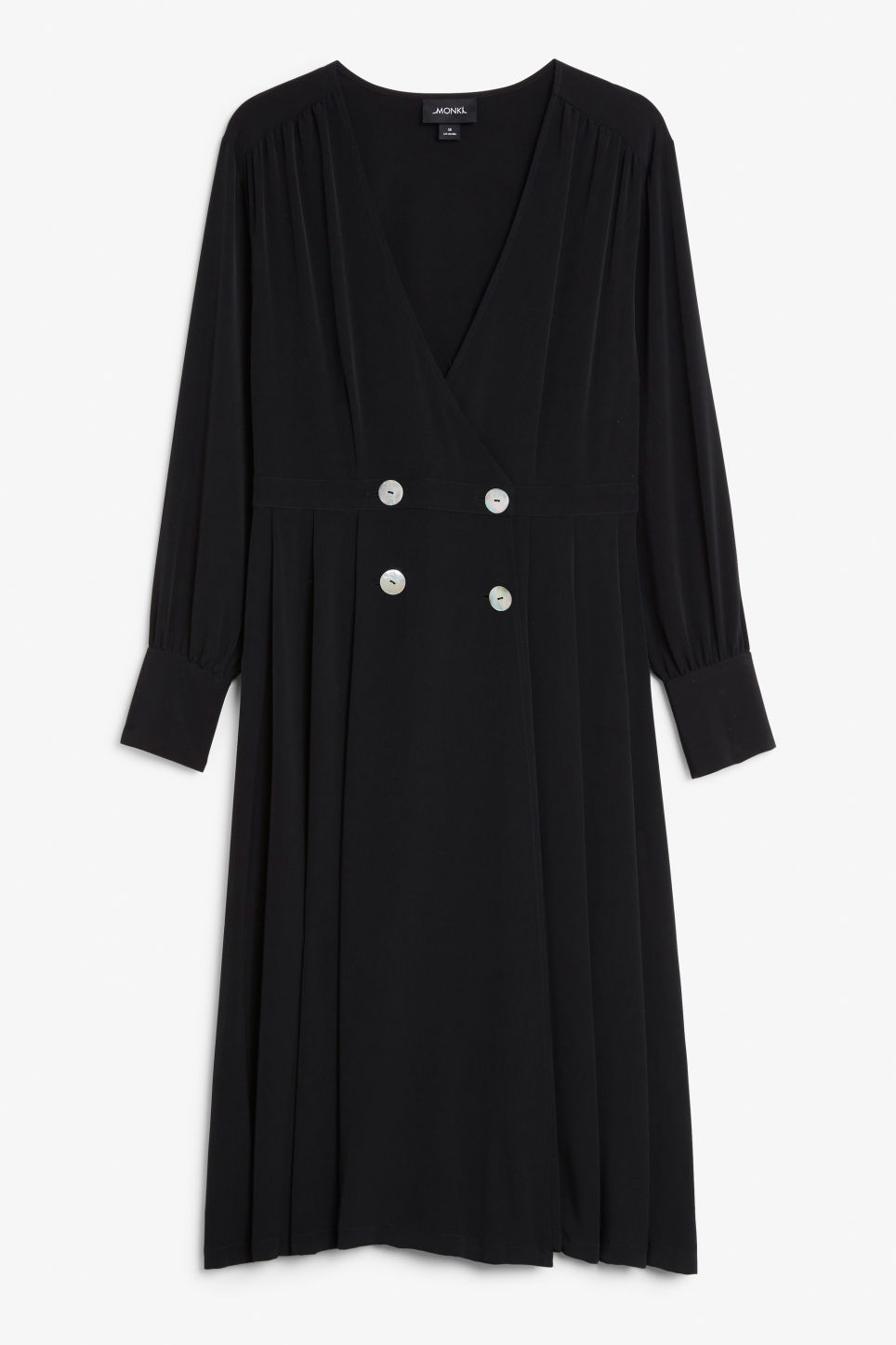 Front image of Monki buttoned wrap dress in black
