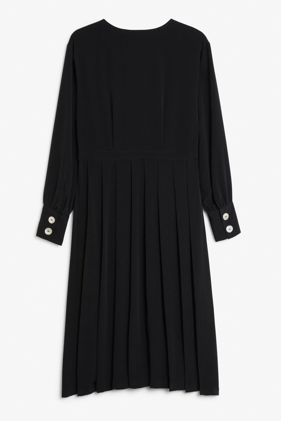 Back image of Monki buttoned wrap dress in black