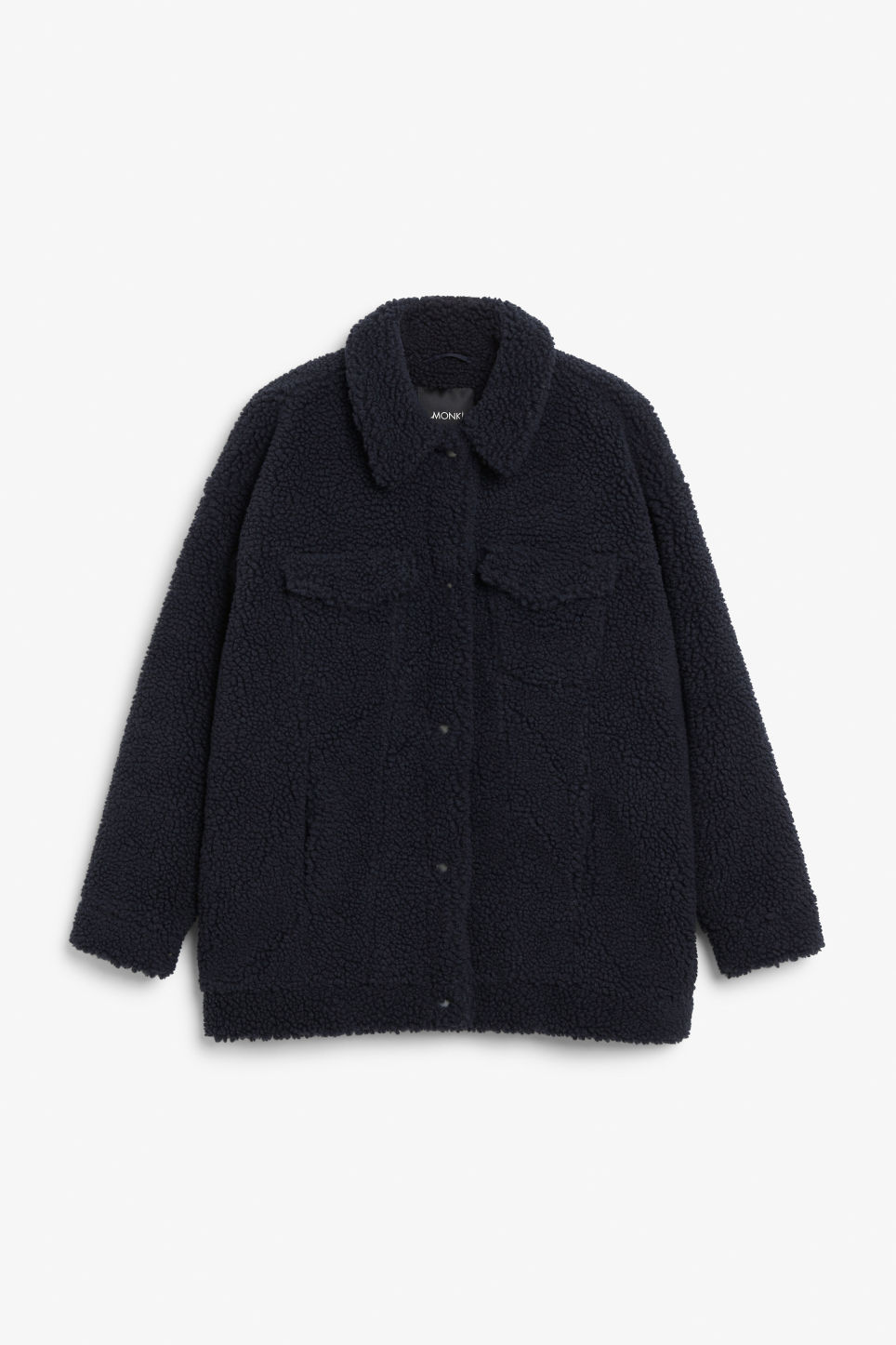 Front image of Monki faux shearling utility jacket in blue