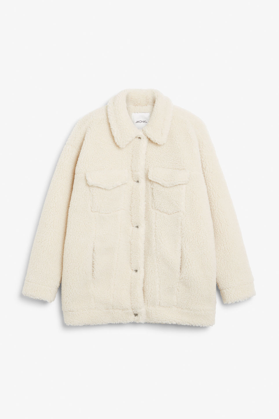 Front image of Monki faux shearling utility jacket in white