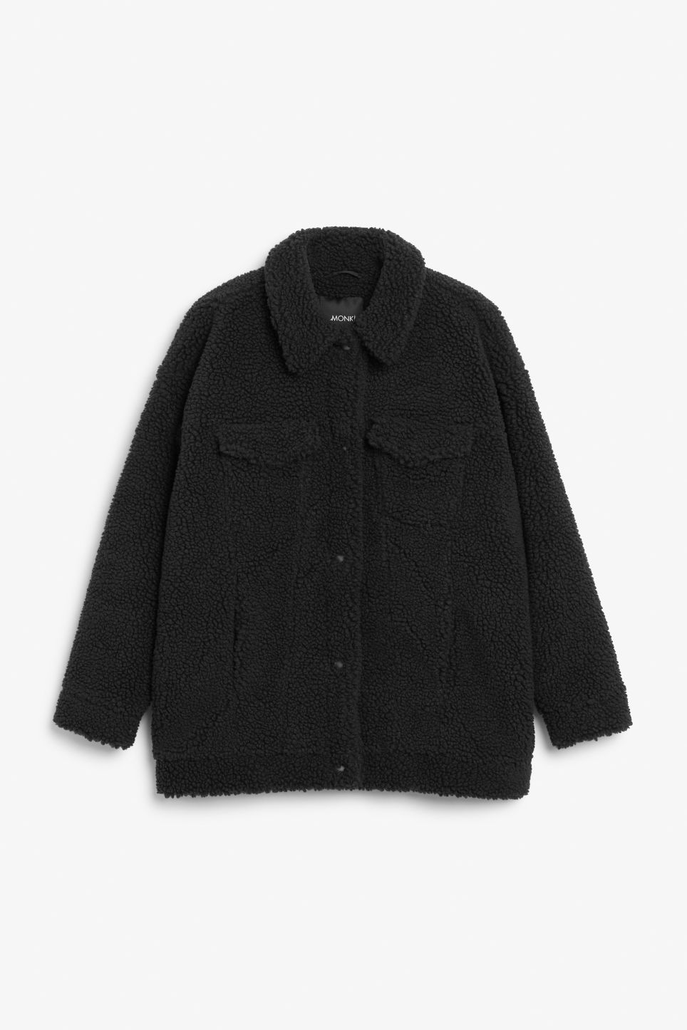 Front image of Monki faux shearling utility jacket in black