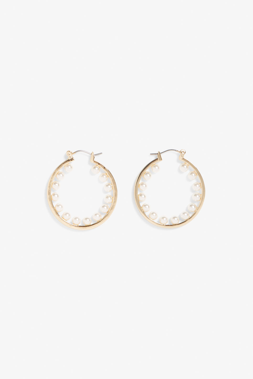 Front image of Monki embellished hoop earrings in gold
