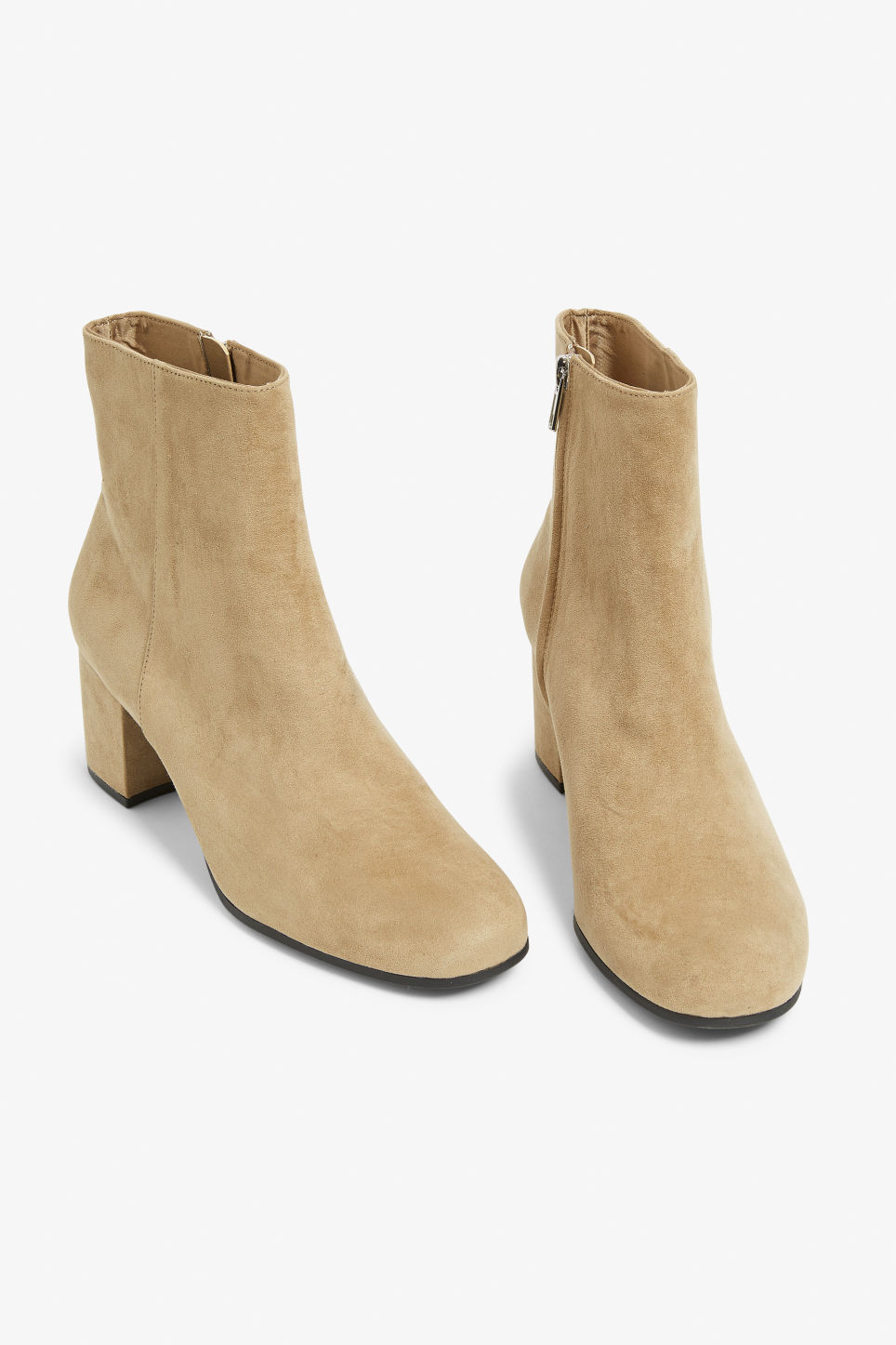 Front image of Monki classic ankle boots in beige