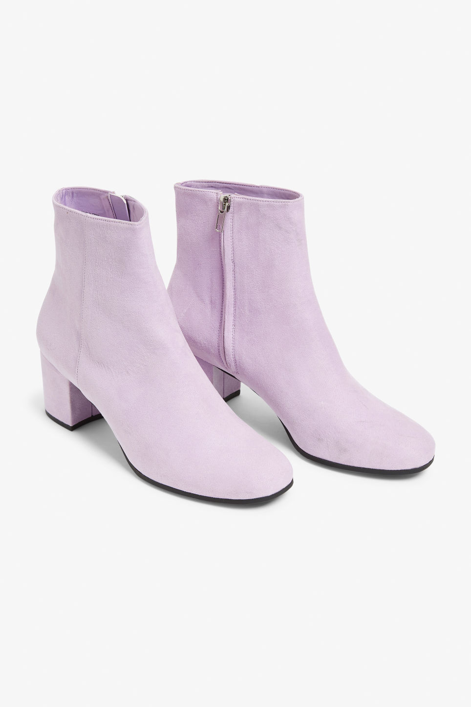 Front image of Monki classic ankle boots in purple
