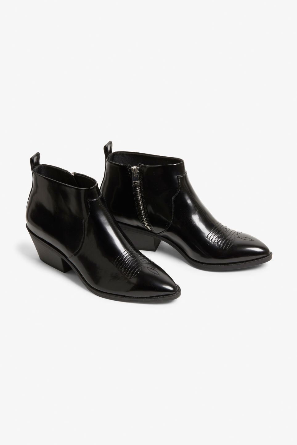 Front image of Monki black patent cowboy boots in black