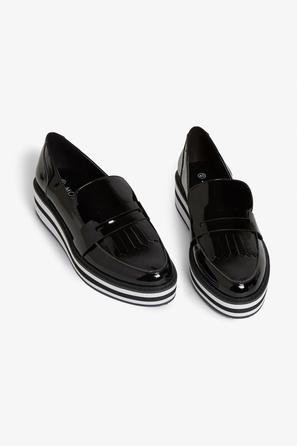 Front image of Monki striped platform loafers in black