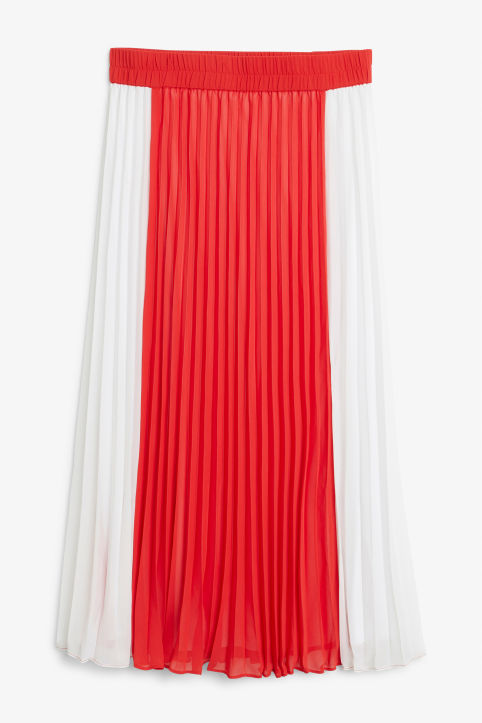 Front image of Monki flowy midi plissé skirt in red