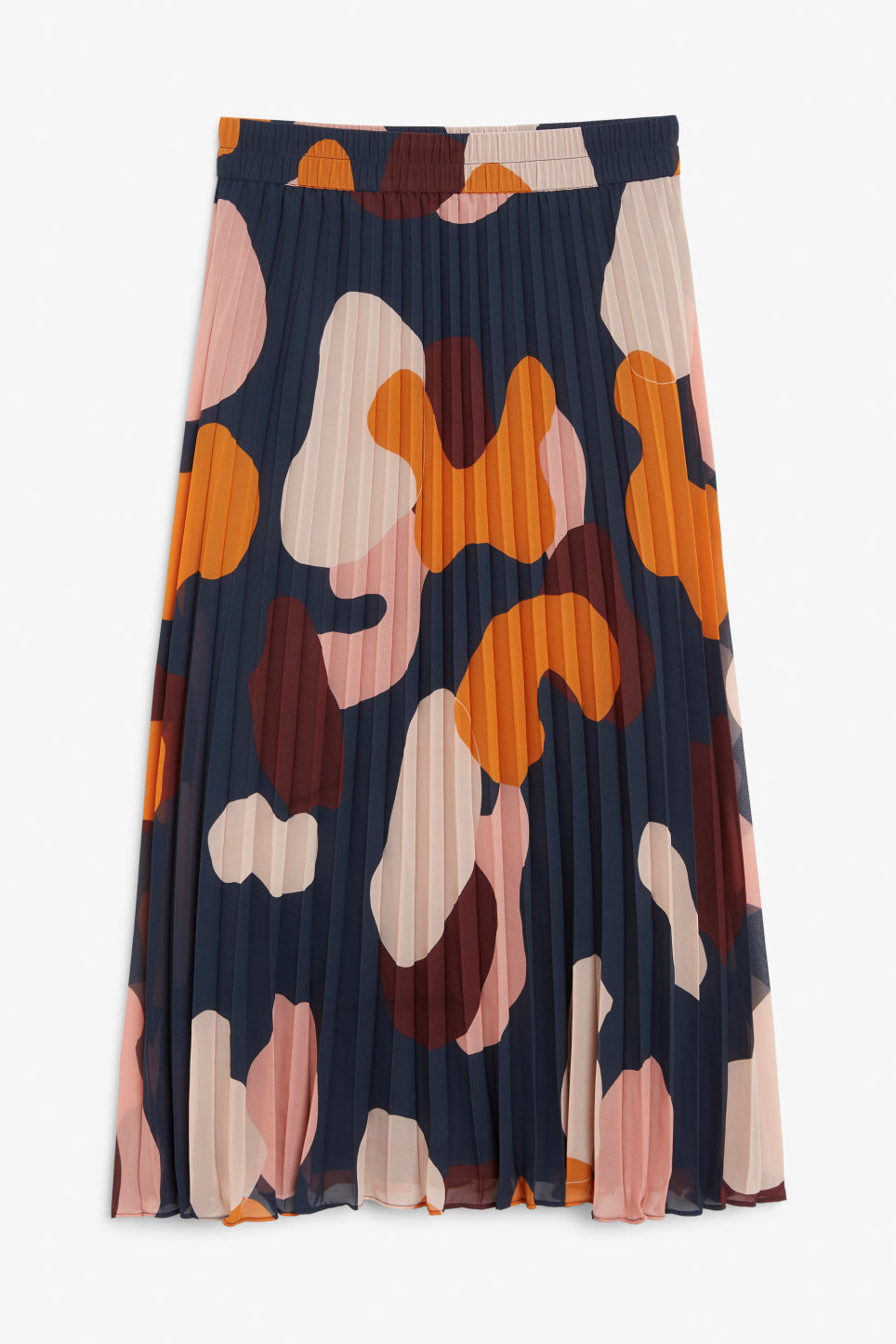 Front image of Monki pleated midi skirt in blue