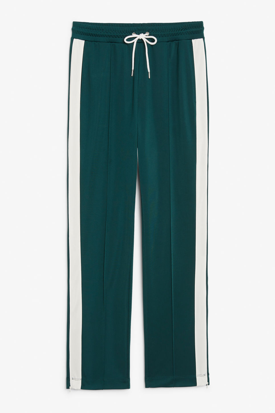 Front image of Monki tailored track pants in green