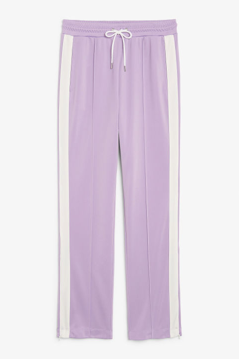 Front image of Monki tailored track pants in purple