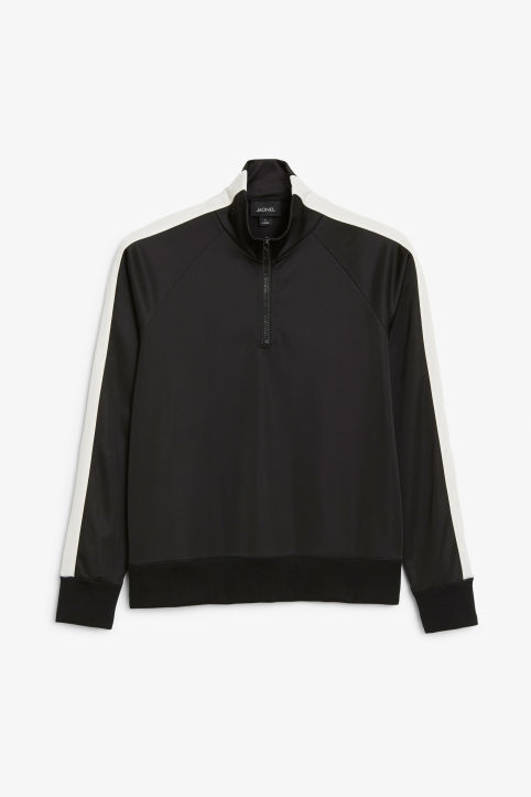 Front image of Monki half zip tracksuit jacket  in black