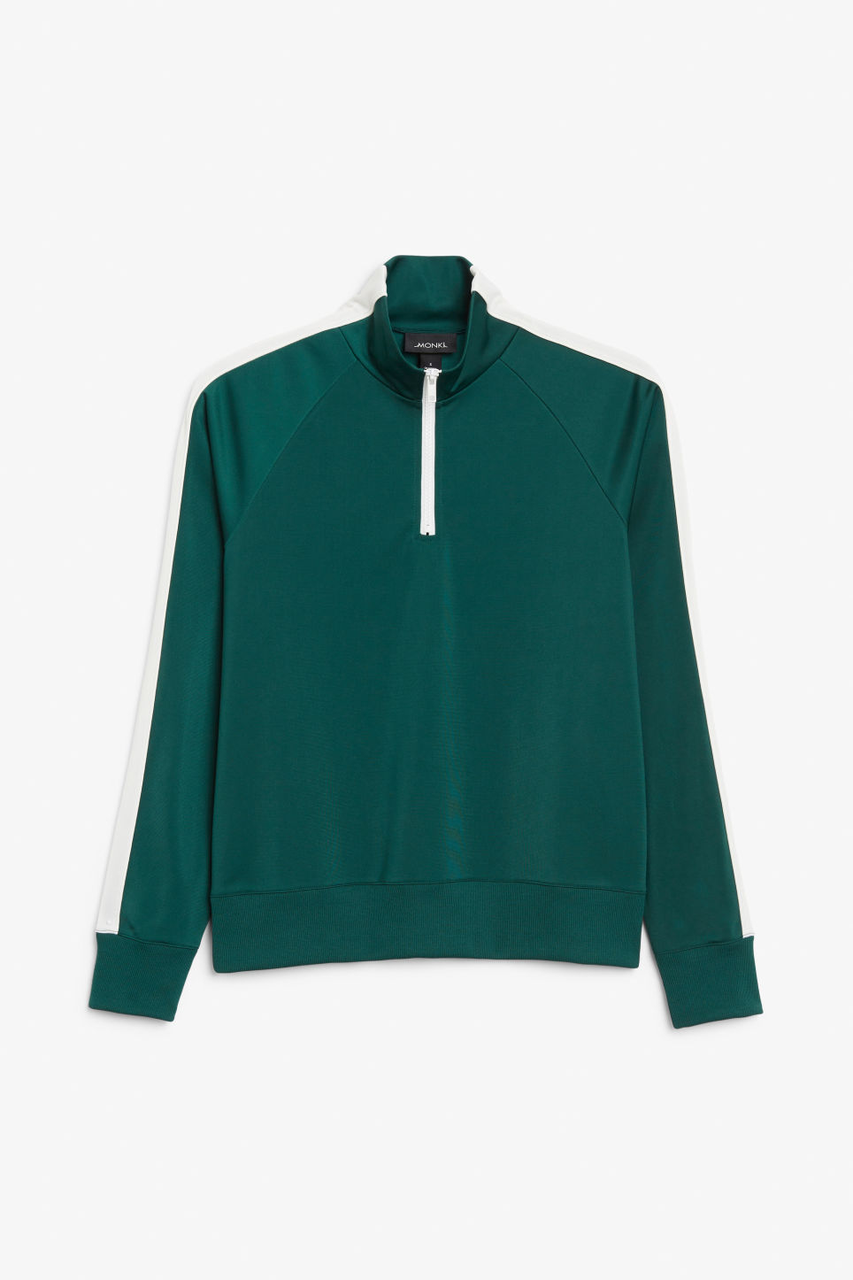 Front image of Monki half zip tracksuit jacket  in green
