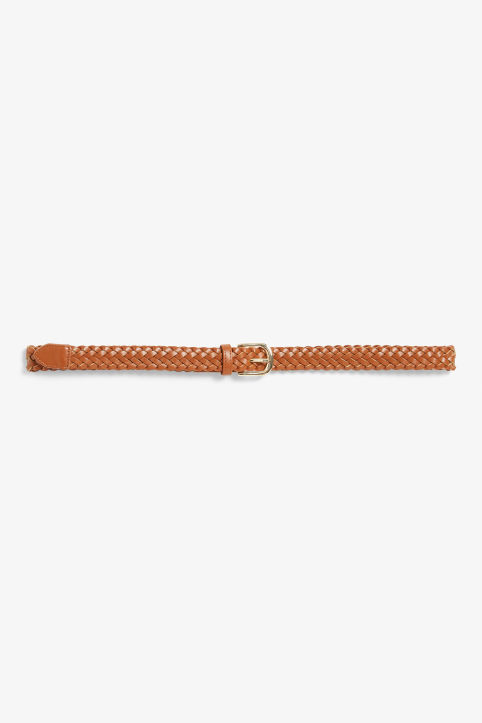 Woven faux leather belt
