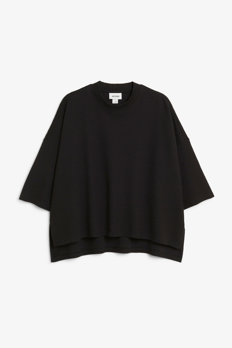Front image of Monki raglan sweater in black