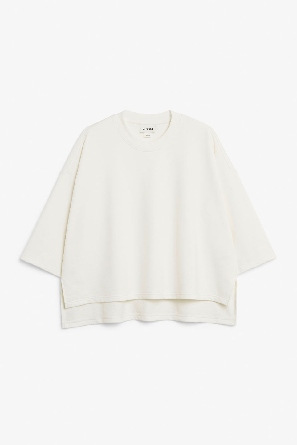 Front image of Monki raglan sweater in white