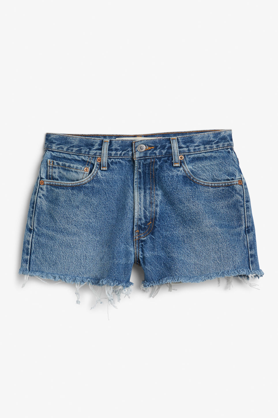 Side image of Monki levis shorts in blue
