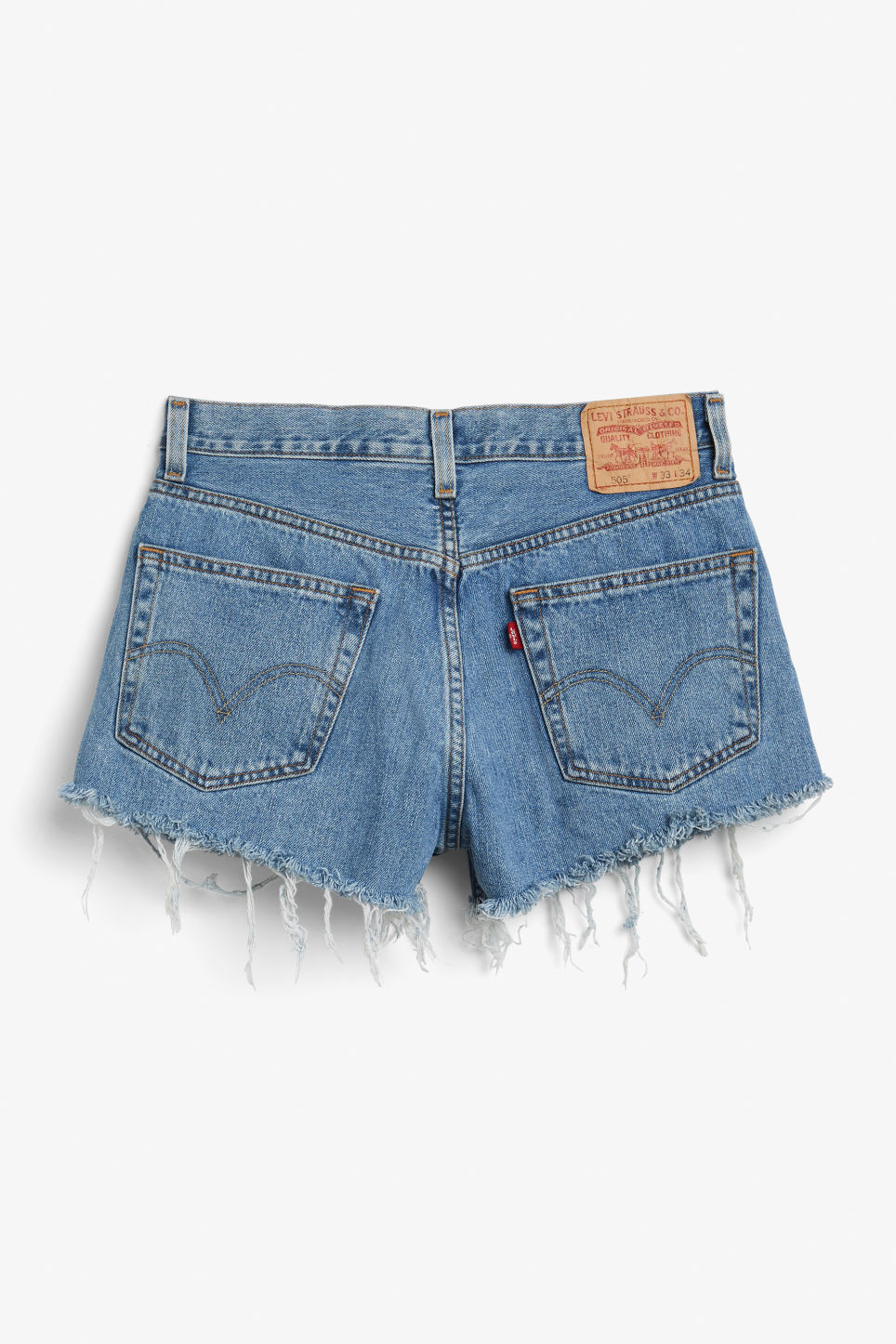 Front image of Monki levis shorts in blue