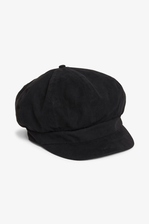 Front image of Monki baker boy cap in black