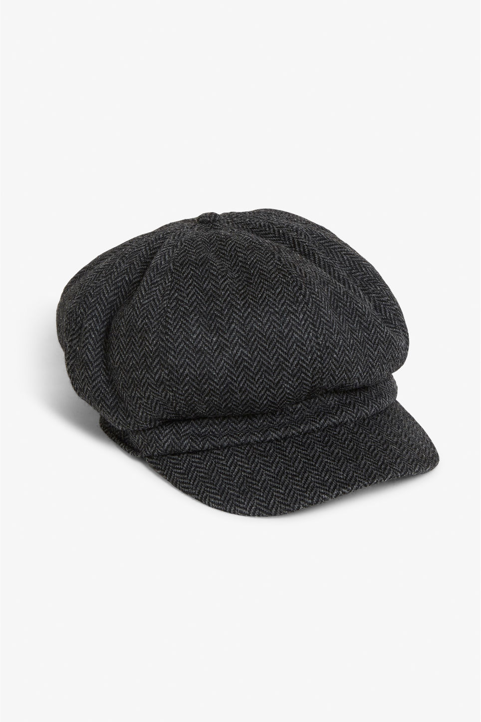 Front image of Monki baker boy cap in grey