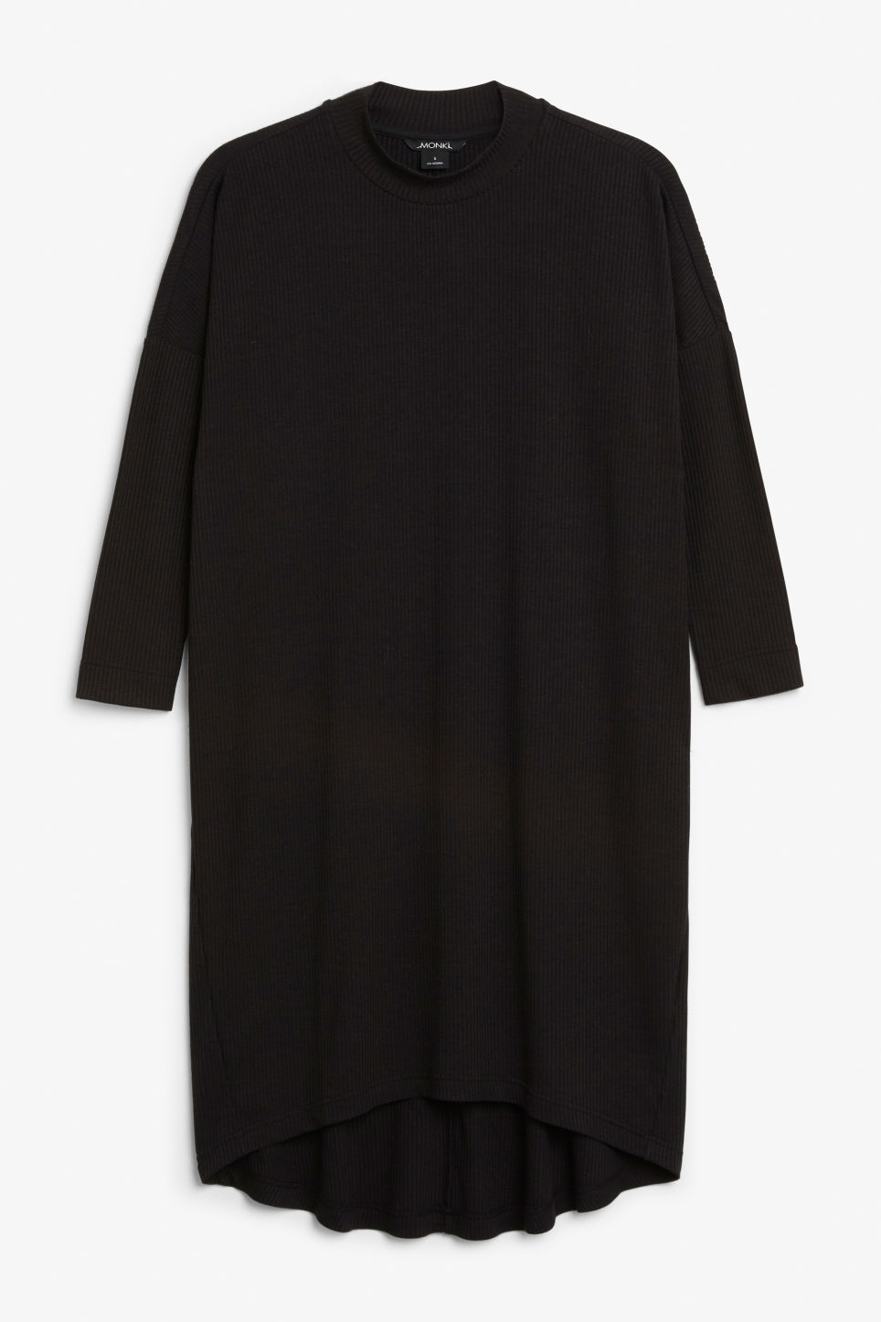 Front image of Monki ribbed dress in black