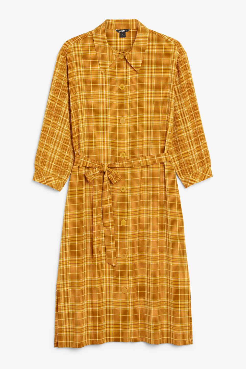 Front image of Monki button up dress in yellow