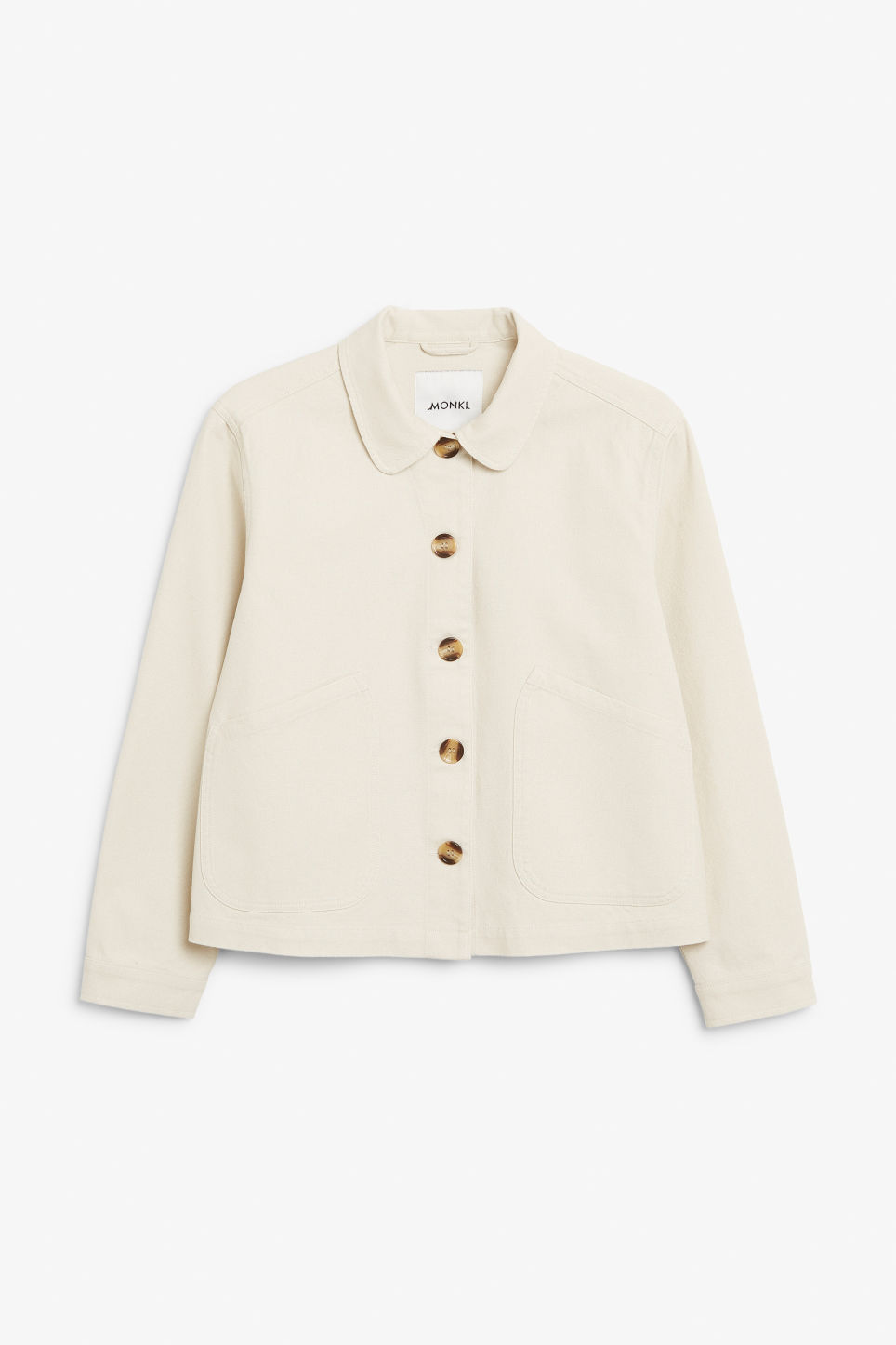 Front image of Monki boxy utility jacket in white